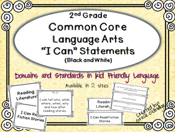 "2nd grade Common Core Language Arts ""I Can"" Statement Post"