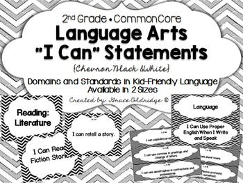 "2nd grade Common Core Language Arts ""I Can"" Statements {Bl"