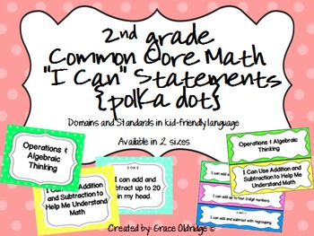 """2nd grade Common Core Math """"I Can"""" Statement Posters {Polka Dot}"""