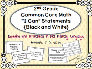 "2nd grade Common Core Math ""I Can"" Statements Posters {Bla"