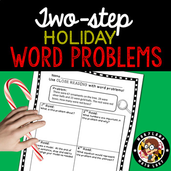 2nd grade Holiday Two Step Word Problems - Close Reading!