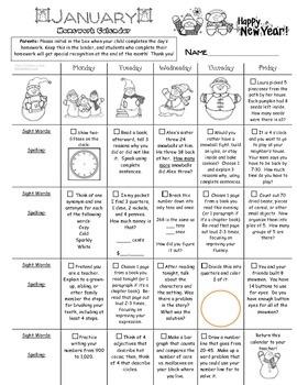 2nd grade January 2016 Homework Calendar *Common Core Aligned*