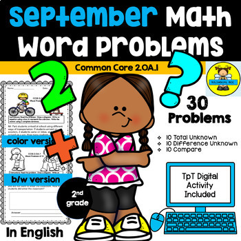 2nd grade Math Word Problems IN ENGLISH - CCSS 2.0A.1 - September