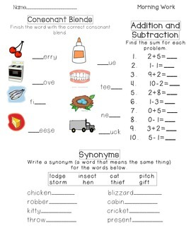 2nd grade Morning worksheet