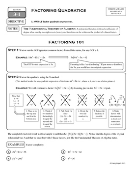 3-1 Factoring Quadratics