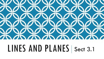 3.1 - Lines and Planes (Parallel and Perpendicular) Lesson