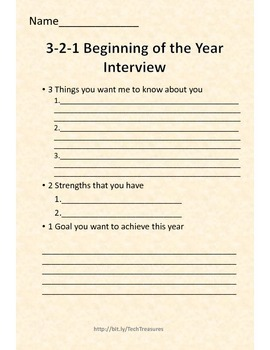 3-2-1 Beginning of the Year Interview