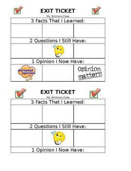 3-2-1 Exit Ticket
