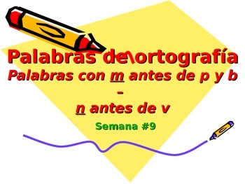 3-5th Grade Spanish Vocabulary - Week 9