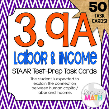 3.9A: Human Capital & Income STAAR Test-Prep Task Cards (GRADE 3)