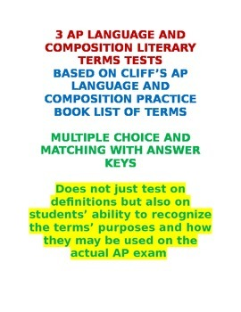 AP Language and Composition Literary Terms Tests with Answer Keys