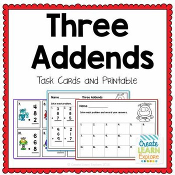 3 Addends Task Cards Math Intervention