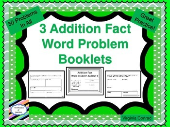 Addition Word Problem Booklets--10 problems in each booklet