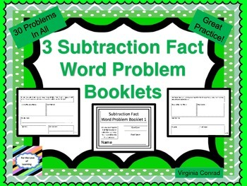 Basic Subtraction Fact Word Problem Booklets---each bookle
