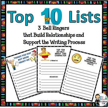 3  Bell Ringers: Top 10 Lists that Support the Writing Process