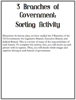 3 Branches of Government Sorting Activity