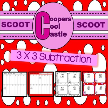 "3 By 3 Subtraction Task Cards ""Valentines Day"""