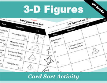 3-D Figures Card Sort Activity