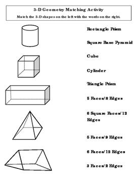 3-D Shape Matching Activity