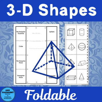 3-D Shapes Foldable activities for math