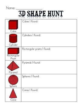 3-D Shapes Scavenger Hunt