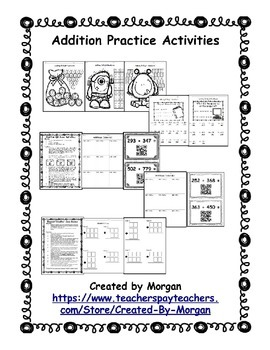 Addition with Regrouping Coloring Pages, Riddles, and QR C