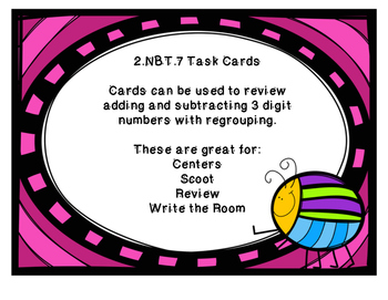 3 Digit Addition and Subtraction Task Cards