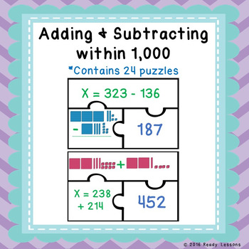 3 Digit Addition and Subtraction with Regrouping Game Puzz
