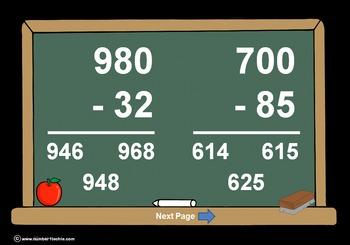 3 Digit Minus 2 Digit Across Zeros-PowerPoint Quiz - Match