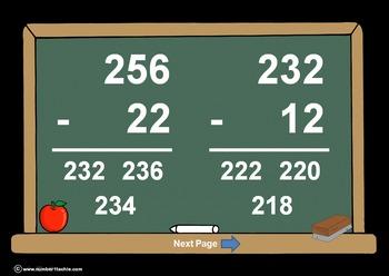 3 Digit Minus 2 Digit NO Regrouping-PowerPoint Quiz - Matc