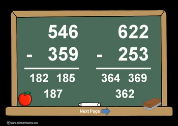 3 Digit Minus 3 Digit WITH Regrouping-PowerPointQuiz - Mat