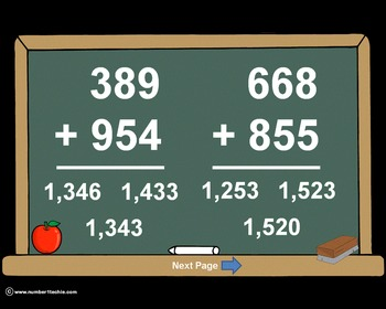 3 Digit Plus 3 Digit Addition PowerPoints+MatchingWkshts &