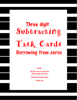 3-Digit Subtracting Task Cards with Borrowing from zero