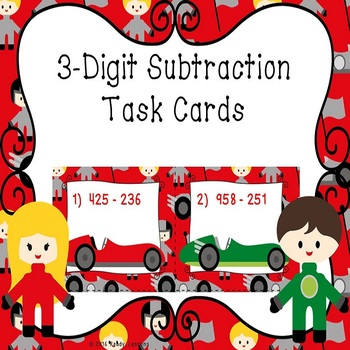3 Digit Subtraction Task Cards - 3.NBT.2