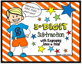 3-Digit Subtraction Task Card Activity Set (With Regroupin