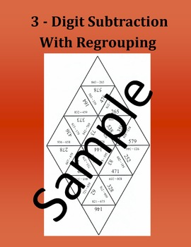 3 - Digit Subtraction With Regrouping – Math puzzle