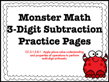 3-Digit Subtraction With and Without Regrouping HMWK Bundl