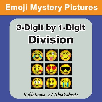 3-Digit by 1-Digit Division Color-By-Number EMOJI Mystery