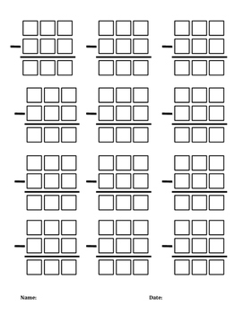 3 Digit with Regrouping Subtraction Boxes