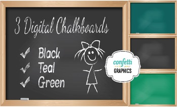 3 Digital Chalkboards Black Green School Teacher Blackboar