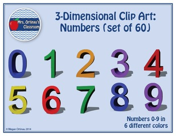 3-Dimensional Clip Art: Numbers (Set of 60)