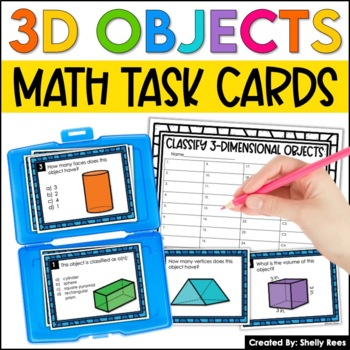 3 Dimensional Shapes and Volume Task Cards and Poster Set