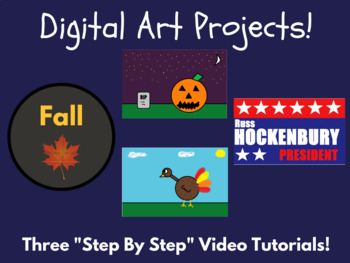 3 Fall Digital Art Projects (Halloween, Thanksgiving, Election)
