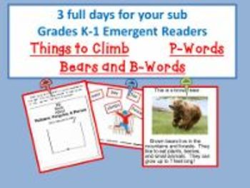 3 Full Days For K-1/ Bears Theme; P-Words Theme; Things to