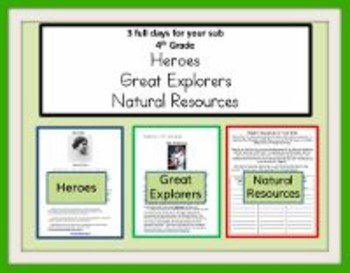 3 Full Days for 4th Grade/Great Explorers, Heroes, Natural