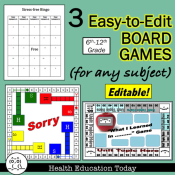 Board Games: 3 Easy-to-Edit Generic Games for Any Subject