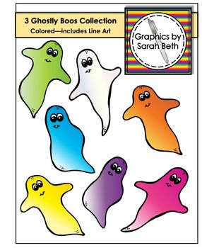 3 Ghostly Boos Clipart Collection - Ghost Clipart Graphics