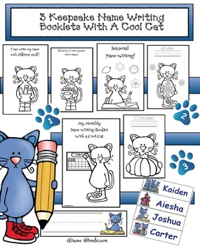 3 Keepsake Name Writing Booklets With A Cool Blue Cat