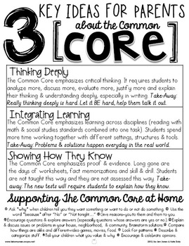 3 Key Ideas for Parents about the Common Core: A Handout