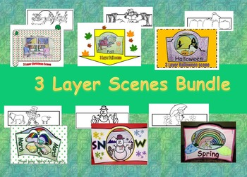 3 Layer Scenes Bundle Seasonal  Art Projects